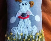 Dog Hand Embroidered Mini Pillow Ready to Ship