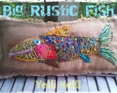 SALE BIG Rustic Fish Pillow Freehand Embroidery Ready to Ship YelliKelli