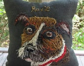 LARGE Your Dog Free hand Embroidered on Pillow in Wool Yarn