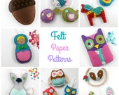 Felt Paper Patterns. Hand Sewing. Owl. Fox. Nesting Doll. Hand Stitched. Pattern. Gift.