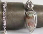 Nyssa plume agate and rose quartz necklace - Agate Necklace - Agate Jewelry - Rose Quartz necklace