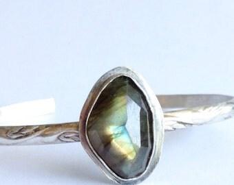 Labradorite Cuff Bracelet - Medium Cuff - Boho Luxe Jewelry -Modern Bohemian - Silver Anniversary Gift
