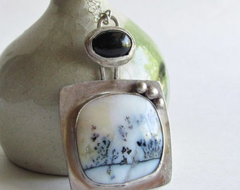 Dendritic Agate and Onyx Necklace - Natural Agate Necklace - Agate Jewelry - Black and White