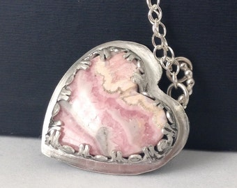 Rhodochrosite Heart Necklace - I Love You Necklace - Hidden Message Necklace - Heart Jewelry