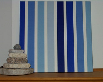 """Sale! Fabric Wall Hanging of Shades of Blue and White Stripes Designer Fabric 20"""" x 20"""" x 3/4"""" deep"""