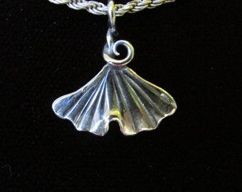 Simple Small Brutalist Spiral  Ginkgo Leaf Pendant