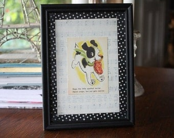 Framed Rags the Little Spotted Terrier Picture Collage Nursery Child's Room Wall Decor