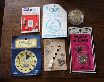 Vintage Sewing and Craft Mix Snaps, Bead Needles, Buttons and Hook & Eyes