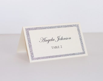 Glitter Place cards - Wedding Place cards - Glitter Escort cards - Wedding table decor - Silver glitter and Ivory