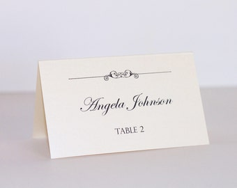 Wedding Place cards - Escort cards - Table Name cards - Wedding Decor - Ivory metallic card stock