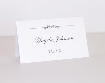 Wedding Place cards - Escort cards - Table Name cards - Wedding Decor - White metallic card stock