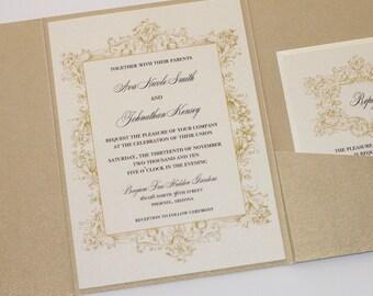 Ivory and Gold Vintage Wedding Invitation - Elegant Wedding Invitation - Rustic Wedding Invitation - Lace Wedding Invitation - Ava Sample