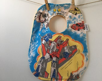 Transformers Baby Gift - Vintage Transformers Bib - 1980s Baby Shower Gift - New Baby Boy Present - Baby Bib with Snaps - Upcycled Baby Gift