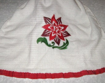 Crochet hanging towel Christmas Embroidered with a Poinsettia, Red Top