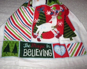 One Kitchen Crochet hanging Towel, Christmas, The Magic in Believing, green top
