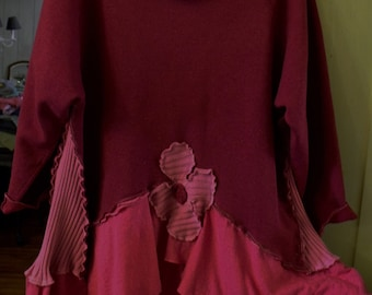Funky Patched Tunic/Shades of Hot Pink/Plus Size