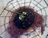 Black Halloween Spider Web Fasciantor with Beaded Spider Hat Halloween Head Piece Fascinator Steampunk