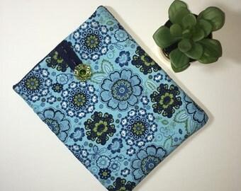 iPad Case, iPad Cover, Tablet Case, Padded iPad Case, Fabric iPad Case, Gift Idea, Blue and Green iPad Case, Handmade iPad Case