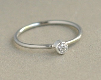 white gold diamond ring. engagement ring. 14k PALLADIUM solid white gold. ONE gemstone ring. gift for her. wedding ring. diamond solitaire.