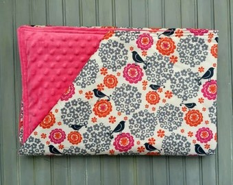 Pink and Gray Floral Bird Baby Blanket