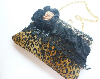 leopard clutch, Rockabilly clutch, boho clutch, gypsy bag, evening bag, wedding clutch, fall wedding clutch, steampunk bag, Victorian purse