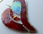 Strawberry fields forever  Beaded Stained Glass Heart   raidiant Reds, jewels and crystals
