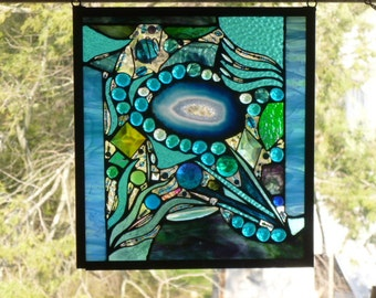 Lost in Turquoise and loving it  No 4 Stained Glass Abstract Art Mixed Media Panel