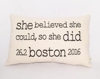 BOSTON Marathon - Embroidered Pillow