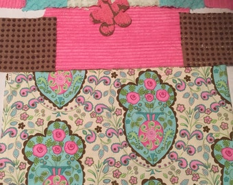 Floral aqua-Pink-Cream  Fabric and Vintage chenille fabric piece