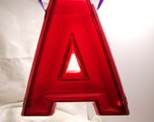 Vintage Translucent Red Marquee Letter A 10 inches Tall by 9 Inches Wide at Bottom Also Available  E,B, I or 1, 7, 5, 9 or 6 Ask for Listing