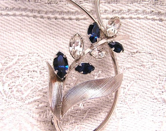 Vintage Star Art Sterling Silver Brooch with Blue and Clear Rhinestones or Crystals Signed Classic Brooch with Textured Sterling (J2)