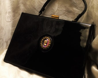 Vintage Large Black Patent  Handbag Purse With Beautiful Cameo in the Center 13 by 10 Inches and 3 Inches Wide Black and Pink Satin Lining