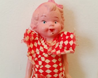Vintage Bisque Doll with Checked Dress..1930's Movable Arm Doll, Altered Art, Mixed Media, Creepy Angry Doll