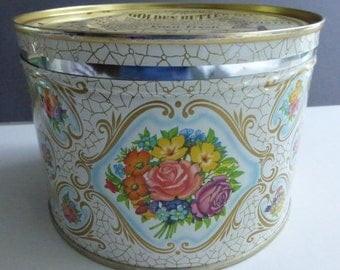 Vintage Mid Century Mrs. Leland's Butter Bits Candy Tin Vacu-Fresh Canister