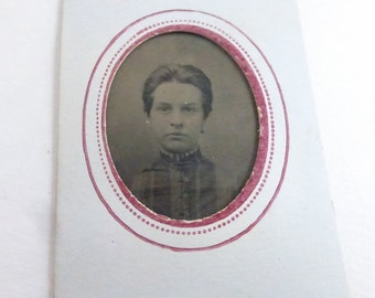 Antique Tiny Tin Type Portrait of Lovely Lady