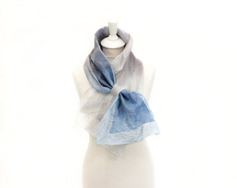 felted scarf, silk scarf, scarflette, accessories,  kate ramsey, fabulousfelt, neckwear, short scarf, neckpiece, small scarf, grey