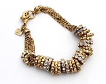 Gold Rhinestone Slider Bracelet