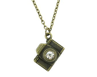 Bronze Crystal Camera Necklace