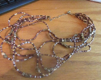 fall multi colored seed necklace