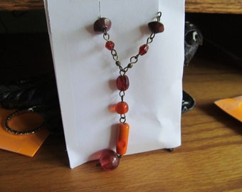 Orange glass necklace