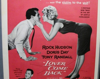 "Movies ...-176  ""Rock Hudson * Doris Day * Tony Randall in ""Lover Come Back"" Movie Ad  -  February 1962"