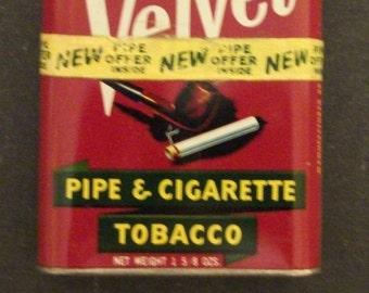 Vintage Velvet Pocket Tobacco Tin   our stock #JTT-3