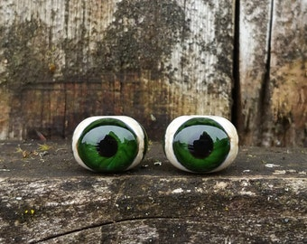 Sparkly Green Three Sided Glass Eyeball Handmade Lampwork Beads