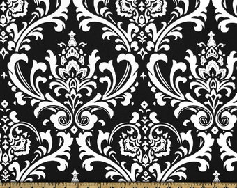 Ozbourne Damask fabric | White Black | Premier Prints