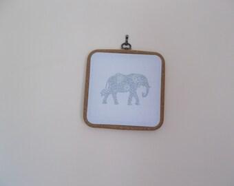 Elephant picture, Elephant wall art, Silver Elephant wall hanging