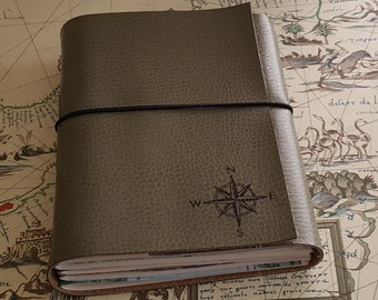 explorer journal with maps a travel journal - sage faux leather