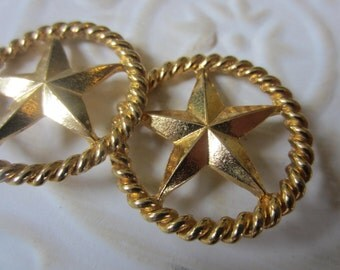 Vintage  Buttons -2 matching large 1 1/8 inch bronze metal, star design,  (oct 35b)