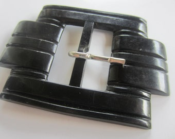 Vintage Belt Buckle -1 beautiful carved black heavy weight plastic (oct 92)