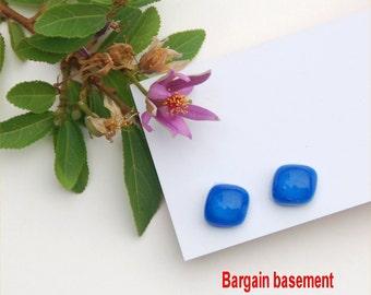 254 Fused glass earrings, dark blue, clear