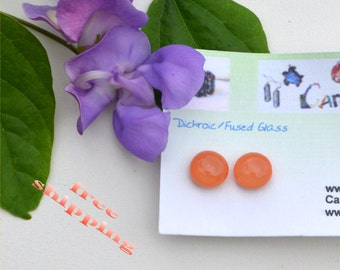 194 Fused glass earrings, smoky orange